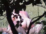 Voyeuristic amateur fuck-a-thon naked couple toying about in a public park